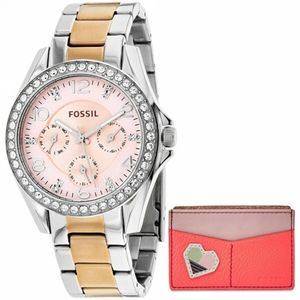 🌸 Fossil Rose Gold and Silver Riley Watch Set